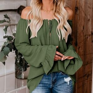 New Oversized ruffle bell sleeve Off Shoulder Top